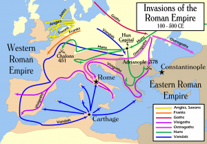 Map of Invasions of the Roman Empire