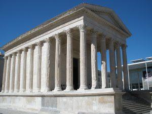 Maison Carrée, a Roman Temple in Nimes, France